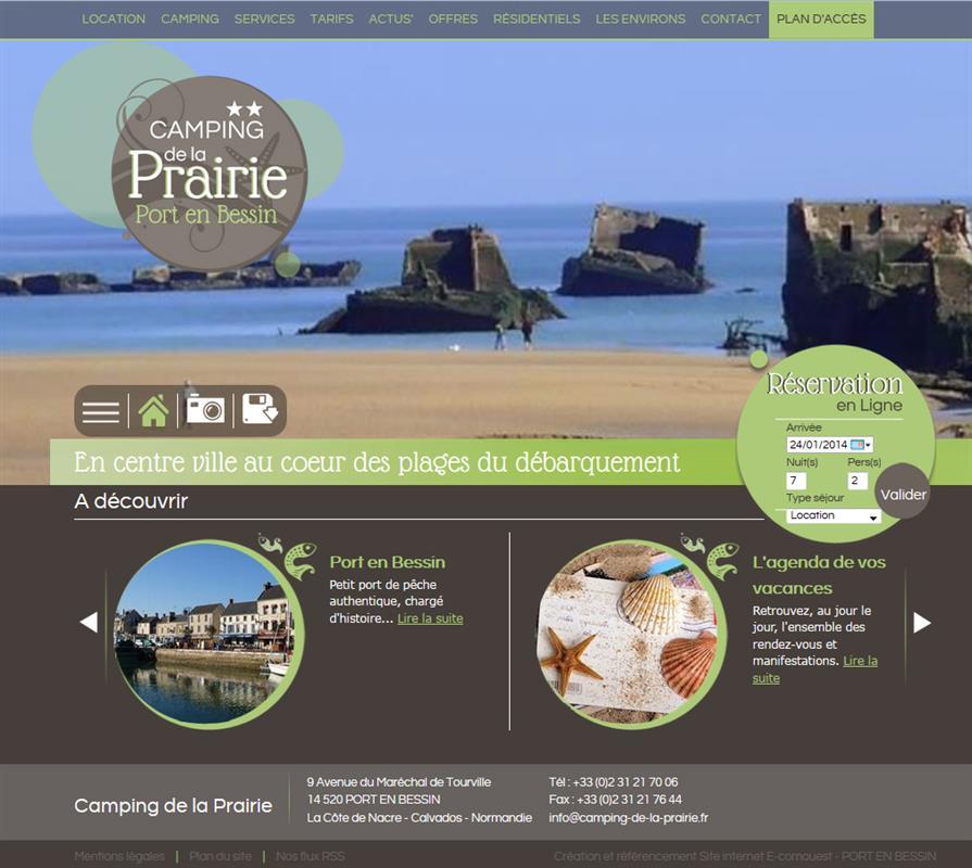 Camping de la prairie creation de site internet pour l - Camping la prairie port en bessin huppain ...